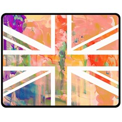 Union Jack Abstract Watercolour Painting Double Sided Fleece Blanket (medium)
