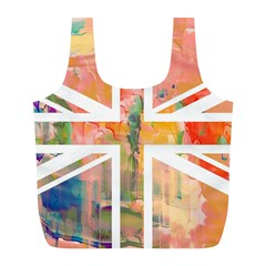 Union Jack Abstract Watercolour Painting Full Print Recycle Bags (L)