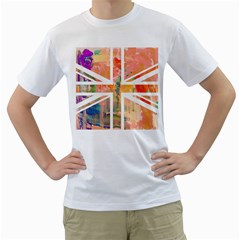 Union Jack Abstract Watercolour Painting Men s T-Shirt (White)