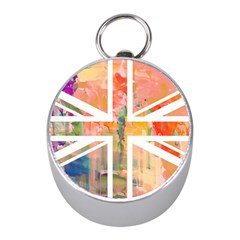 Union Jack Abstract Watercolour Painting Mini Silver Compasses