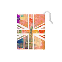 Union Jack Abstract Watercolour Painting Drawstring Pouches (Small)