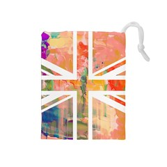 Union Jack Abstract Watercolour Painting Drawstring Pouches (Medium)