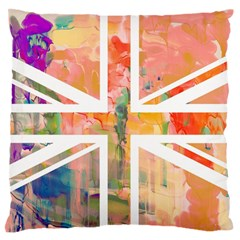Union Jack Abstract Watercolour Painting Large Flano Cushion Case (Two Sides)