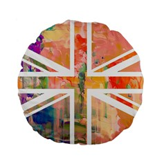 Union Jack Abstract Watercolour Painting Standard 15  Premium Flano Round Cushions