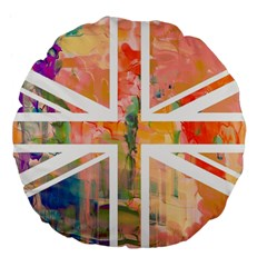 Union Jack Abstract Watercolour Painting Large 18  Premium Flano Round Cushions