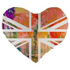 Union Jack Abstract Watercolour Painting Large 19  Premium Flano Heart Shape Cushions