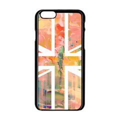 Union Jack Abstract Watercolour Painting Apple Iphone 6/6s Black Enamel Case