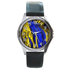 Blue And Gold Fractal Lava Round Metal Watch