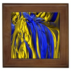 Blue And Gold Fractal Lava Framed Tiles