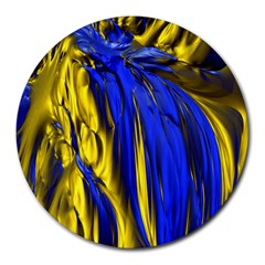 Blue And Gold Fractal Lava Round Mousepads