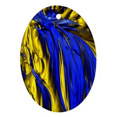 Blue And Gold Fractal Lava Ornament (oval)