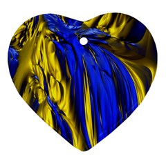 Blue And Gold Fractal Lava Ornament (heart)