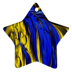Blue And Gold Fractal Lava Ornament (star)