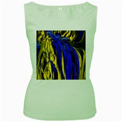 Blue And Gold Fractal Lava Women s Green Tank Top