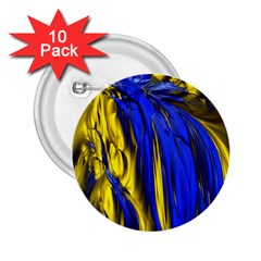 Blue And Gold Fractal Lava 2.25  Buttons (10 pack)