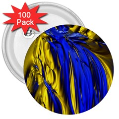 Blue And Gold Fractal Lava 3  Buttons (100 Pack)