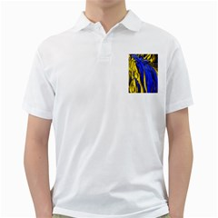 Blue And Gold Fractal Lava Golf Shirts