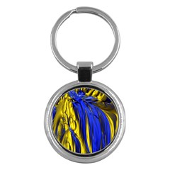 Blue And Gold Fractal Lava Key Chains (round)
