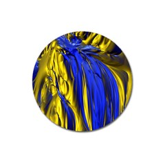 Blue And Gold Fractal Lava Magnet 3  (round)