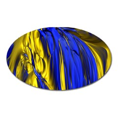Blue And Gold Fractal Lava Oval Magnet