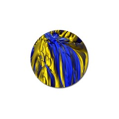 Blue And Gold Fractal Lava Golf Ball Marker (4 pack)