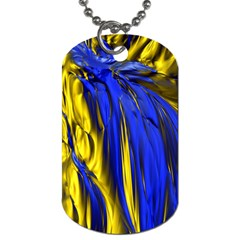 Blue And Gold Fractal Lava Dog Tag (two Sides)