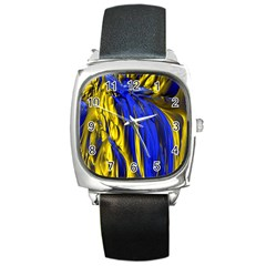 Blue And Gold Fractal Lava Square Metal Watch