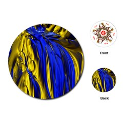 Blue And Gold Fractal Lava Playing Cards (round)