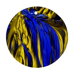 Blue And Gold Fractal Lava Round Ornament (Two Sides)
