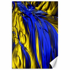 Blue And Gold Fractal Lava Canvas 12  X 18
