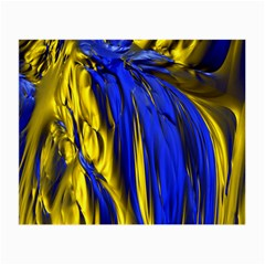 Blue And Gold Fractal Lava Small Glasses Cloth (2 Side)