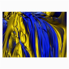 Blue And Gold Fractal Lava Large Glasses Cloth