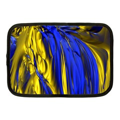 Blue And Gold Fractal Lava Netbook Case (medium)