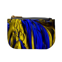 Blue And Gold Fractal Lava Mini Coin Purses