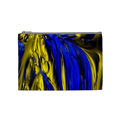 Blue And Gold Fractal Lava Cosmetic Bag (medium)