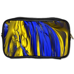 Blue And Gold Fractal Lava Toiletries Bags