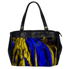 Blue And Gold Fractal Lava Office Handbags