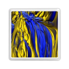 Blue And Gold Fractal Lava Memory Card Reader (square)