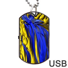 Blue And Gold Fractal Lava Dog Tag USB Flash (One Side)