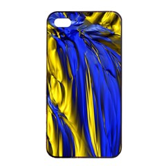 Blue And Gold Fractal Lava Apple iPhone 4/4s Seamless Case (Black)