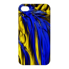 Blue And Gold Fractal Lava Apple iPhone 4/4S Premium Hardshell Case