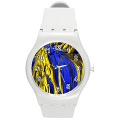 Blue And Gold Fractal Lava Round Plastic Sport Watch (M)