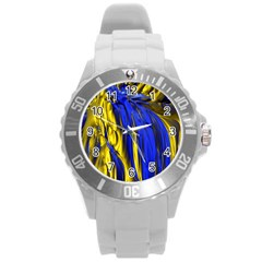 Blue And Gold Fractal Lava Round Plastic Sport Watch (L)