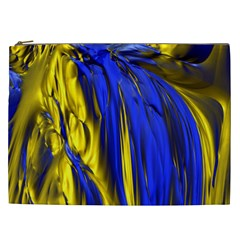 Blue And Gold Fractal Lava Cosmetic Bag (XXL)