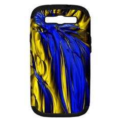 Blue And Gold Fractal Lava Samsung Galaxy S III Hardshell Case (PC+Silicone)