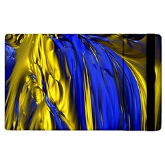 Blue And Gold Fractal Lava Apple iPad 2 Flip Case