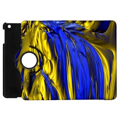 Blue And Gold Fractal Lava Apple Ipad Mini Flip 360 Case