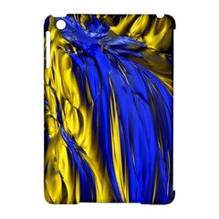Blue And Gold Fractal Lava Apple Ipad Mini Hardshell Case (compatible With Smart Cover)