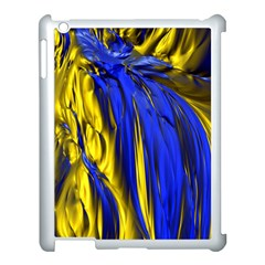 Blue And Gold Fractal Lava Apple Ipad 3/4 Case (white)