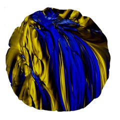 Blue And Gold Fractal Lava Large 18  Premium Round Cushions